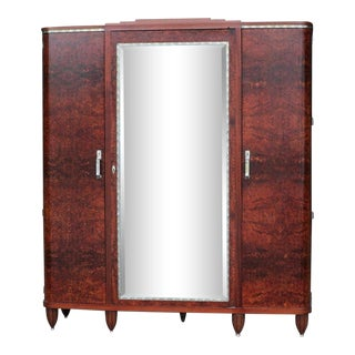 1930s Art Deco Birchwood Mirror Armoire For Sale