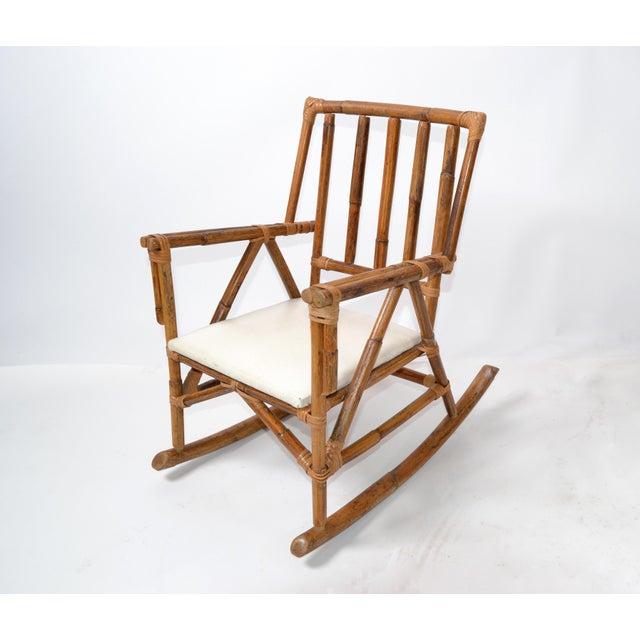 Mid-Century Modern Boho Style Bamboo & Vinyl Children Rocking Chair For Sale - Image 13 of 13