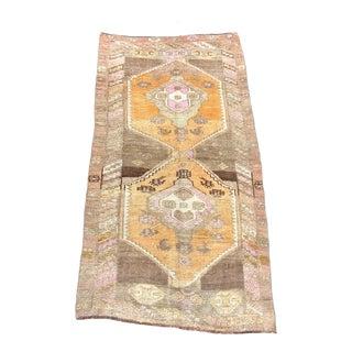 Traditional Vintage Handmade Ethnic Tribal Turkish Rug 3′4″ × 6′3″ For Sale