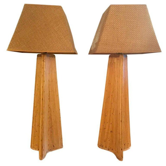 Vintage Palm Springs Style Tall Rattan Lamps - a Pair For Sale - Image 11 of 11