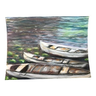 """Final Markdown Nancy Smith """"Three Canoes"""" Original Pastel Painting For Sale"""