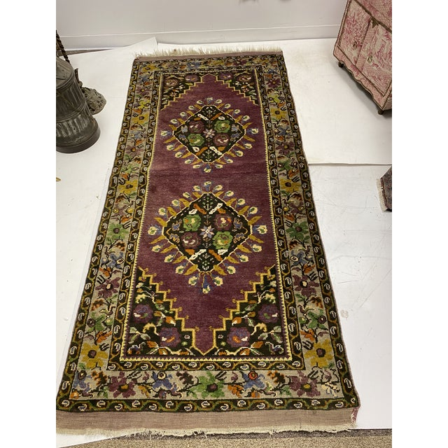 Mid 20th Century Tehranian Hand Woven Purple Floral Wool Rug For Sale - Image 5 of 9