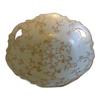 Vintage Lenwile-Ardalt Hand Painted Pale Blue With Gold Porcelain Bowl For Sale