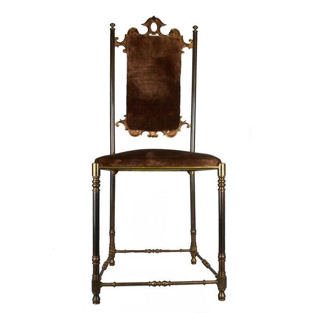 Vintage Brass & Brown Velvet Vanity Accent Chair - Image 4 of 7