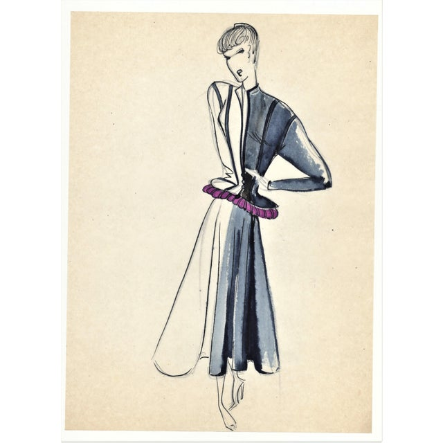Fabulous and chic! This is an original French fashion drawing from the late 1940s. It is an ink and watercolor...