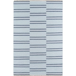 "Erin Gates Thompson Union Light Blue Hand Woven Wool Area Rug 7'6"" X 9'6"" For Sale"