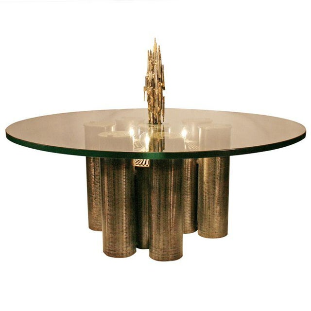 E. Garfinkle Brutalist Coffee Table With Coordinating Chandelier For Sale - Image 13 of 13