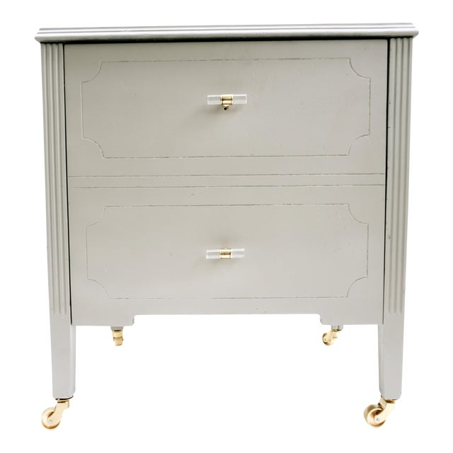 Art Deco Gray & Gold Rolling Record Cabinet For Sale