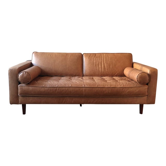 Contemporary Scandinavian Leather Couch | Chairish