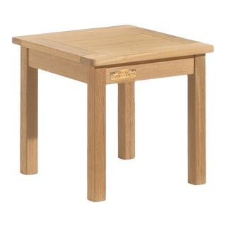 Classic Teak Square Outdoor End Table, Natural For Sale
