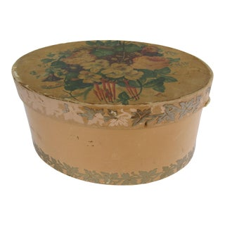 Vintage Shabby Chic Hat Box With Roses and Violets For Sale