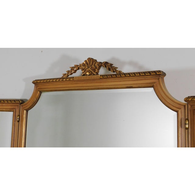1920's Vintage French Louis XVI Style Tri-Fold Mirror with Dressing Table, Vanity For Sale In Philadelphia - Image 6 of 13