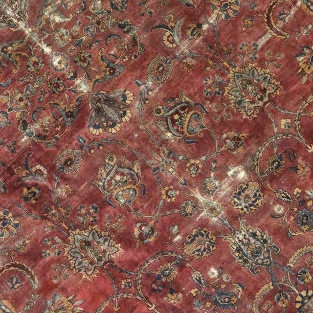 Distressed Antique Persian Kerman with Modern Industrial Style For Sale - Image 5 of 8