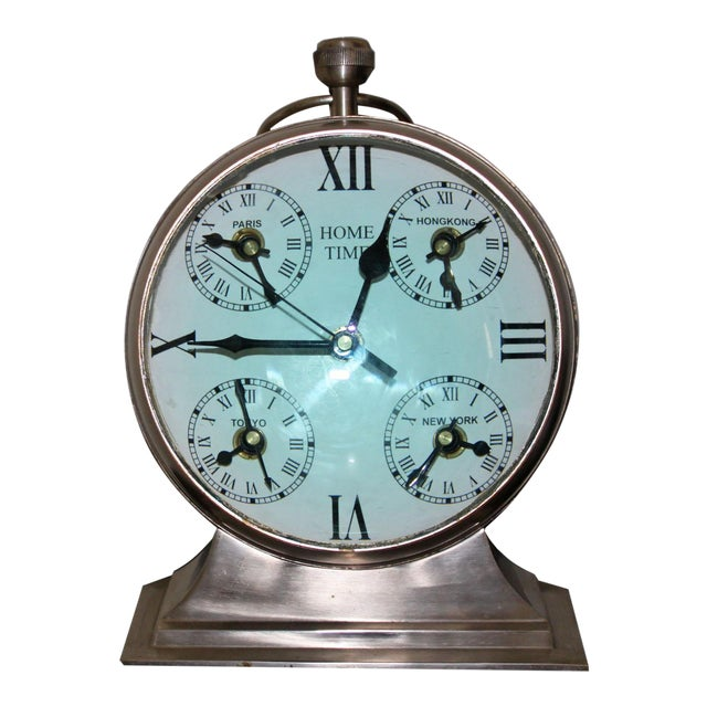 Over Sized Metal Louis XII Desk Clock For Sale