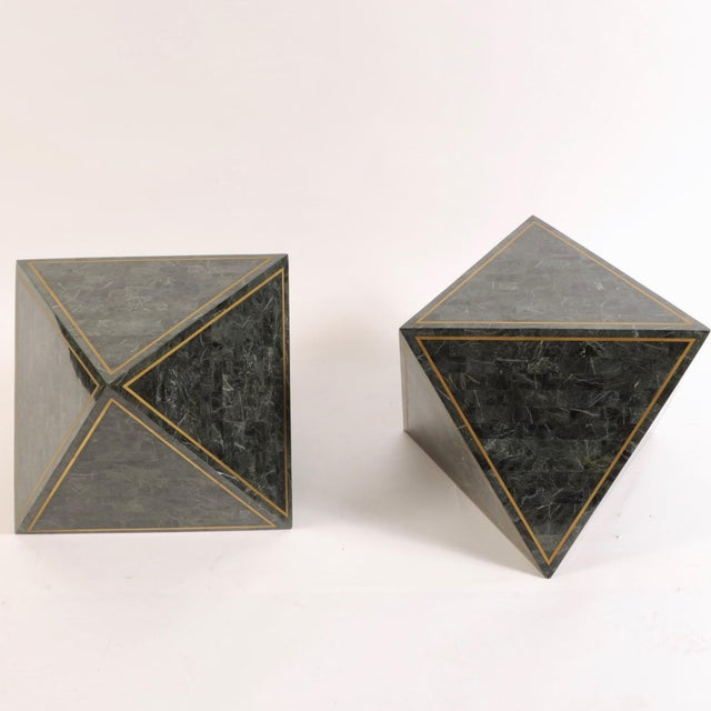 1980s Octahedron Tessellated Marble Side Tables For Sale - Image 10 of 10