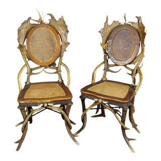 1900s Antique Rustic Antler Parlor Chairs - a Pair For Sale
