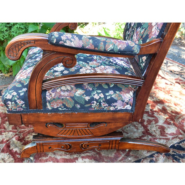 19th Century Antique Victorian Eastlake Mahogany Rocking Chair New Upholstery For Sale In Philadelphia - Image 6 of 13