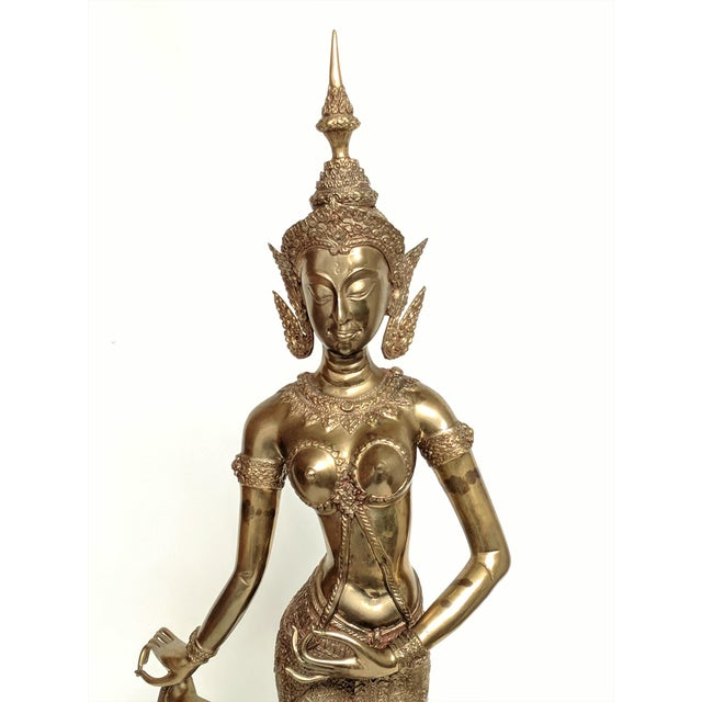 Thai Goddess Brass Sculpture For Sale - Image 4 of 13