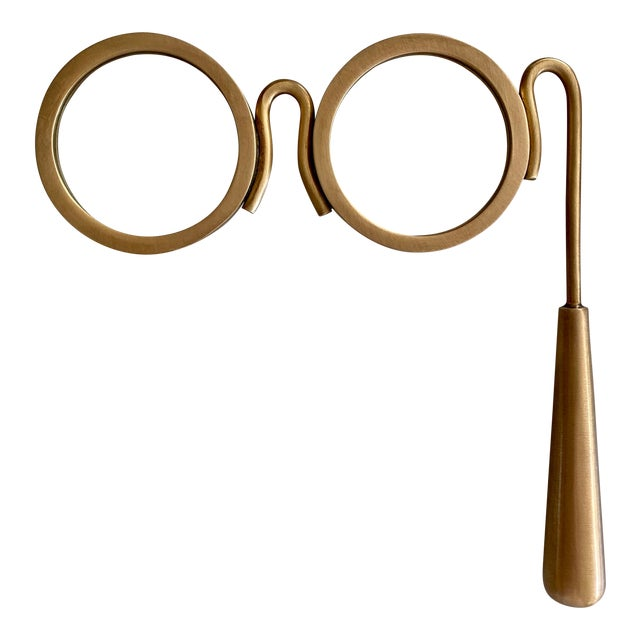Lorgnette Style Magnifying Glasses in Antique Brass For Sale