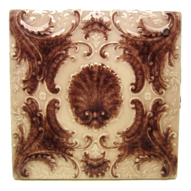 Victorian Minton Hollins Shell Fireplace Surround Tiles - Image 3 of 7