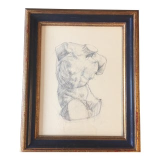 Original Vintage Ink Drawing Life Study Male Nude For Sale