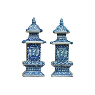 Blue & White Chinoiserie Pagoda Jars - a Pair For Sale