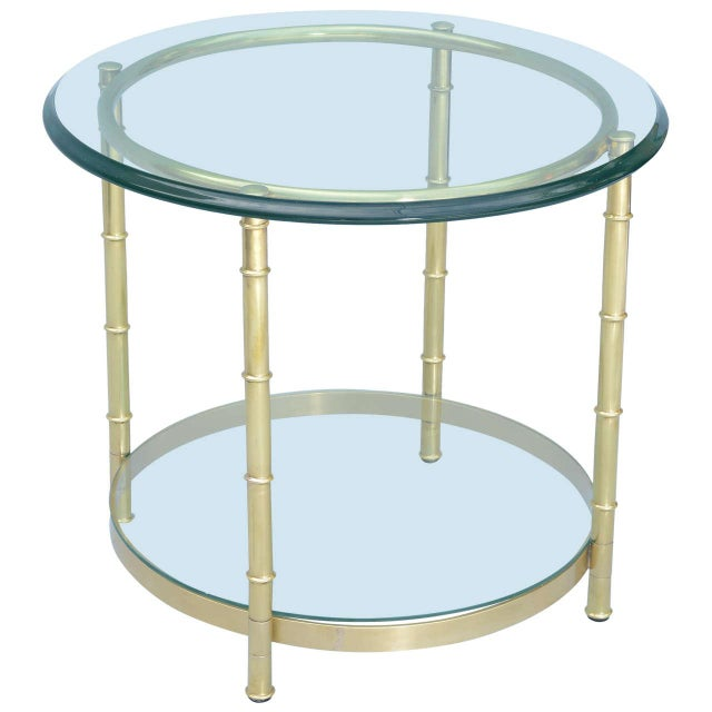 Polished Brass Faux Bamboo End Table For Sale - Image 11 of 11