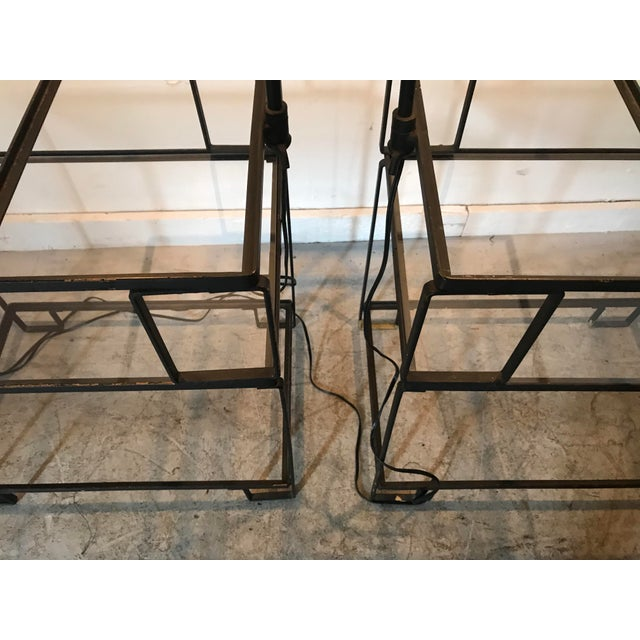 Black Mid-Century Wrought Iron Table & Lamp Combo in the Style of Weinberg, McCobb For Sale - Image 8 of 13