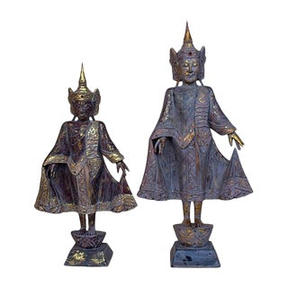 Thai Style Buddha Figurines in Antique Finish - a Pair For Sale