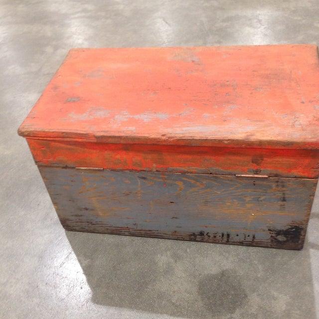 Rustic Antique Orange Wash Carpenter's Box - Image 3 of 5