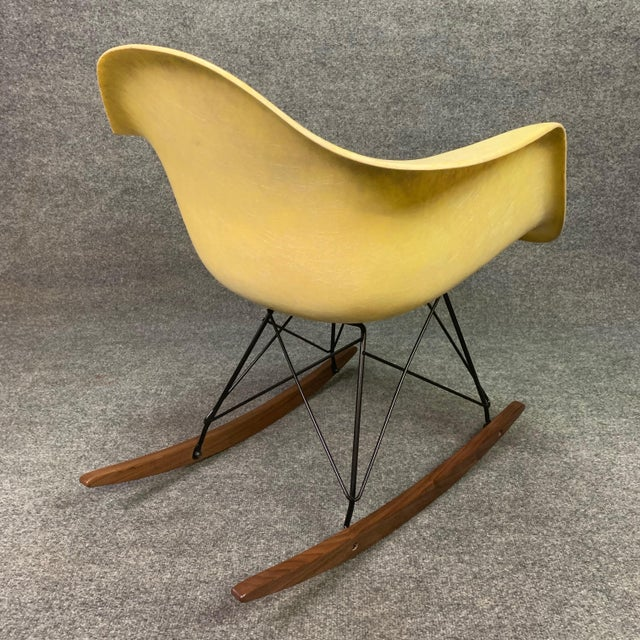 Yellow Vintage Mid Century Charles Eames Fiberglass Rocking Chair For Sale - Image 8 of 12