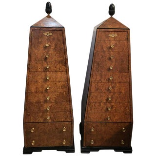 Walnut and Ebony Obelisk Cabinets - a Pair For Sale