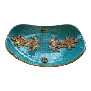 Mid-Century Modern Turquoise Zaccagnini Italian Decorative Art Bowl