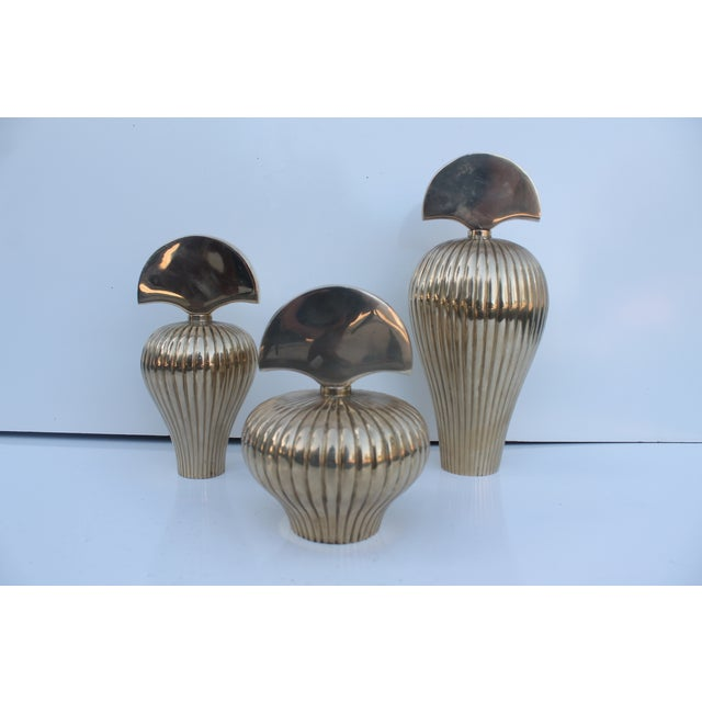Mid-century modern heavy, solid polished brass perfume bottles in the style of Gabriella Crespi. Set of 3 decorative...