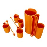 Image of Op Pop Mod French Orange Plastic Pitcher with Cups and Stirrers Cocktail Set For Sale