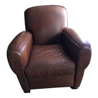1980s Vintage Paris Leather Club Chair For Sale