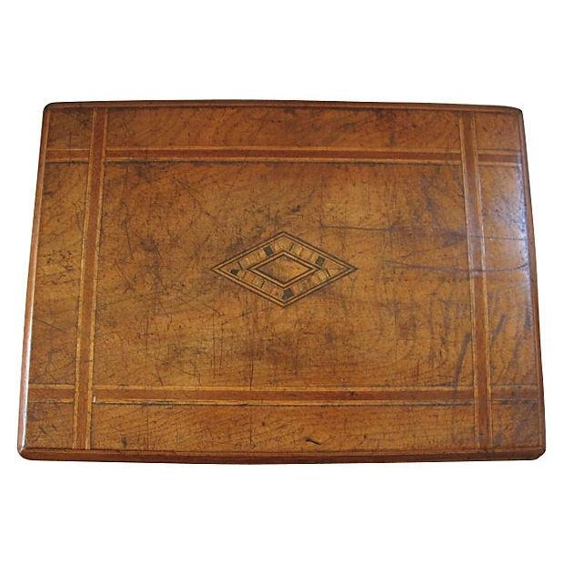 Antique Inlaid Wood Document Box - Image 2 of 4
