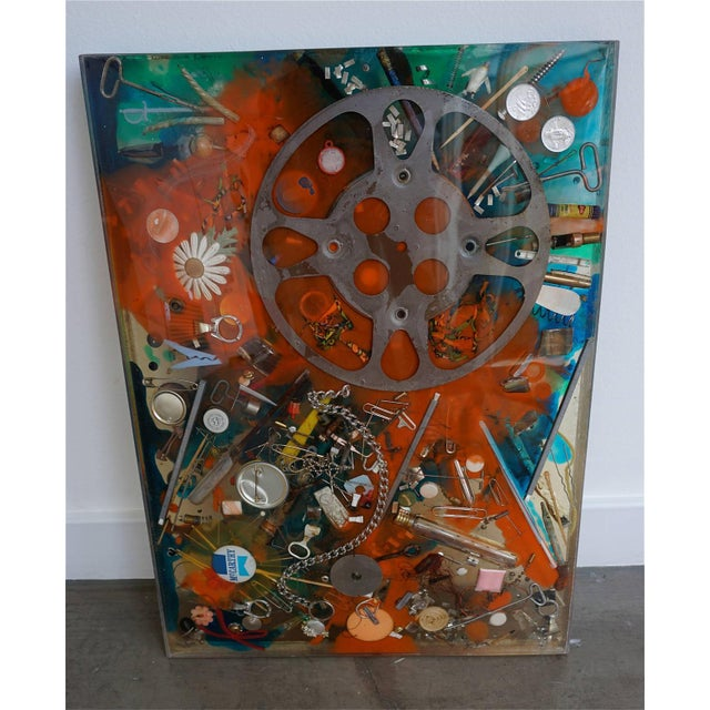 Contemporary Double-Sided Collage Imbedded in Lucite For Sale - Image 3 of 7