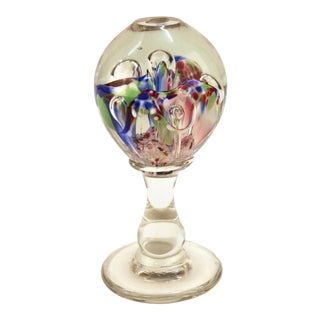 Italian Mid Century Murano Floral Glass Sphere on Glass Stand For Sale