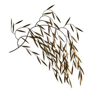 Vintage Mid Century Brass Bamboo Wall Sculpture For Sale