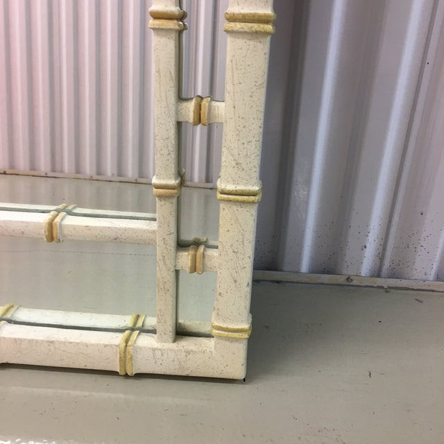 Art Deco Vintage LaBarge Style White and Gold Greek Key Faux Bamboo Mirror For Sale - Image 3 of 7