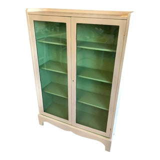 1920s Cottage Solid Wood White Green Bookcase Curio Display Case For Sale