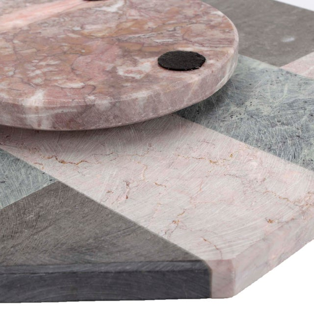 Hollywood Regency Mixed Marble Lazy Susan For Sale - Image 4 of 5