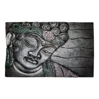 Silver Buddha Face Relief Panel For Sale