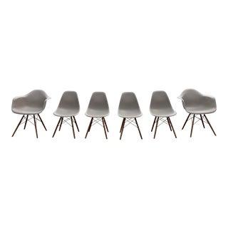 DWR Eames Molded Plastic Dowel-Leg Eiffel Chairs - Set of 6 For Sale