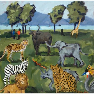 "Guerin Oil Painting ""Out of Africa"", Contemporary Colorful Landscape With Wildlife For Sale"