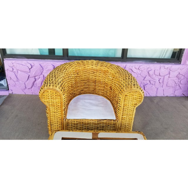 XL- Ralph Lauren Tropical Woven Rattan Chair and Ottoman For Sale - Image 9 of 13