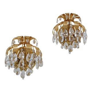 1960s Palwa Crystal Brass Pineapple Wall Lights by Ernst Palme, German - a Pair For Sale