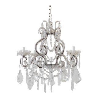 Petite Beaded Arm Silver Finish Chandelier For Sale