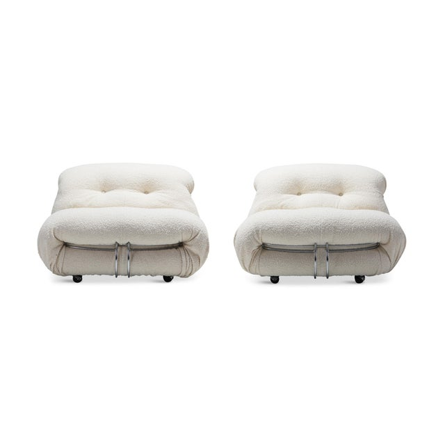 Mid-Century Modern set by Afra and Tobia Scarpa reupholstered in ivory Lelièvre Parisian bouclé wool. Manufactured by...